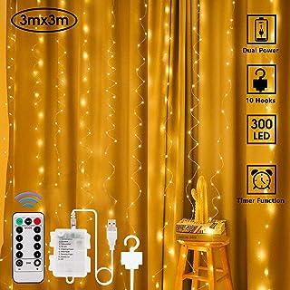 AJATA Luces de Cortina LED – 3x3m 300 LED, USB con Control Remoto Impermeable Cortina de Luces, 8 Modos de Luces, Decoración de Jardín, Fiesta, Boda, Exteriores,Navidad, Dormitorios (Blanco cálido)