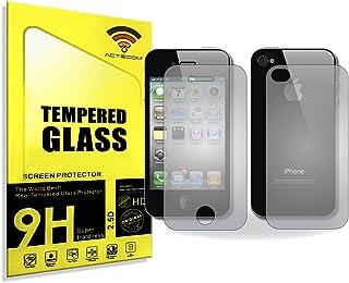 04562d6ec02 ACTECOM® Protector DE Pantalla 9H 2.5D para iPhone 4 4S Doble Delantero Y  Trasero