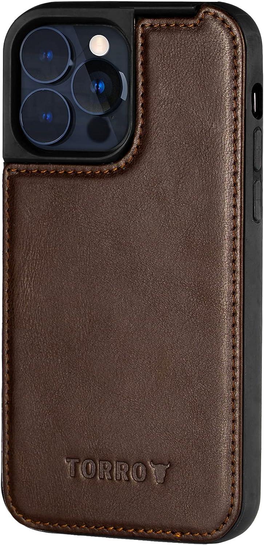 TORRO Funda Carcasa MagSafe Compatible para iPhone 13 Pro - Funda Protectora Bumper Delgada de Cuero Genuino de Calidad (Marrón Oscuro)