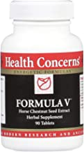 Health Concerns - Formula V - Chinese Herbal Supplement - Promotes Circulation and Reduces Inflammation - with Horse Chestnut Seed Extract - 90 Tablets per Bottle