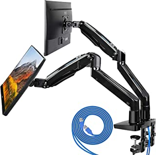 HUANUO Dual Monitor Mount Stand - Long Double Arm Gas Spring Monitor Desk Mount for 2 Screens 22 to 32 Inch Height Adjustable VESA Bracket with Clamp, Grommet Base -Each Arm Hold up to 26.4 lbs