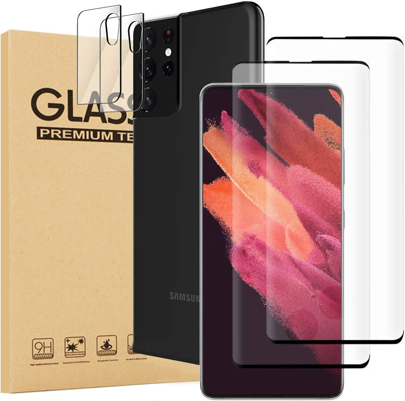 4 Pack Ankoe 2 Pack Screen Protector + 2 Pack Camera Lens Protector Compatible with Samsung Galaxy S21 Ultra 6.8 inch, Tempered Glass, HD Ultra-Thin, Case Friendly