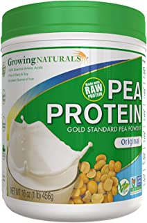 Growing Naturals | Plant Based Protein, Gold Standard Raw Pea Protein Powder | Original | Non-GMO, Vegan, Gluten-Free, Keto Friendly, Shelf-Stable | 1LB