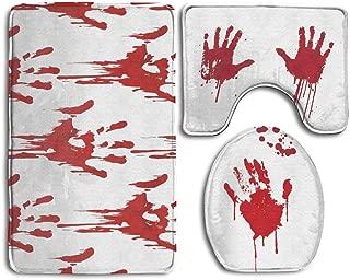 FionaLin Bath Mat,3 Piece Bathroom Rug Set,Funny Bloody Hands Horror Halloween Theme Non Slip Toilet Seat Cover Set,Large Contour Mat,Lid Cover For Men/Women