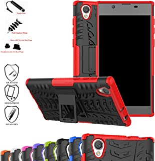 Sony Xperia L1 Case,Mama Mouth Shockproof Heavy Duty Combo Hybrid Rugged Dual Layer Grip Cover with Kickstand for Sony Xperia L1 (with 4 in 1 Packaged),Red
