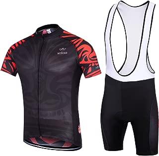 MYNEKO Mens Short Sleeve Cycling Jersey 3D Padded Bib Short Set Quick-Dry Polyester