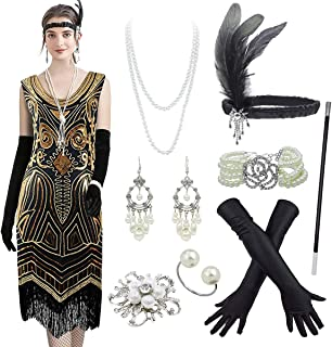 Women's Flapper Dress Embroidery Sequin Fringed 1920s Dress w/Accessories Set