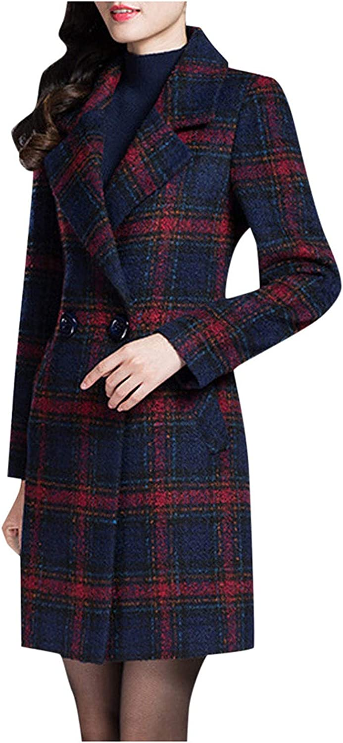 Womens Long Sleeve Checkered Coat Courier Directly managed store shipping free Overcoat Lapel Jacket Warm Ou