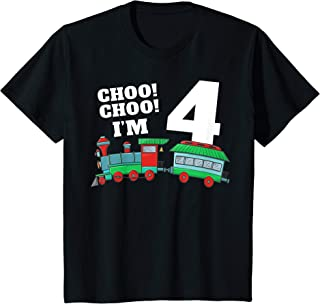 Kids Train 4th Birthday T Shirt Boy Train 4 Year Old Boy Gift Tee