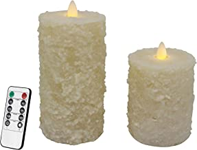 CVHOMEDECO. Cake Shape Real Wax Hand Dipped Battery Operated LED Pillar Candles with Timer and Remote Control, Farmhouse F...