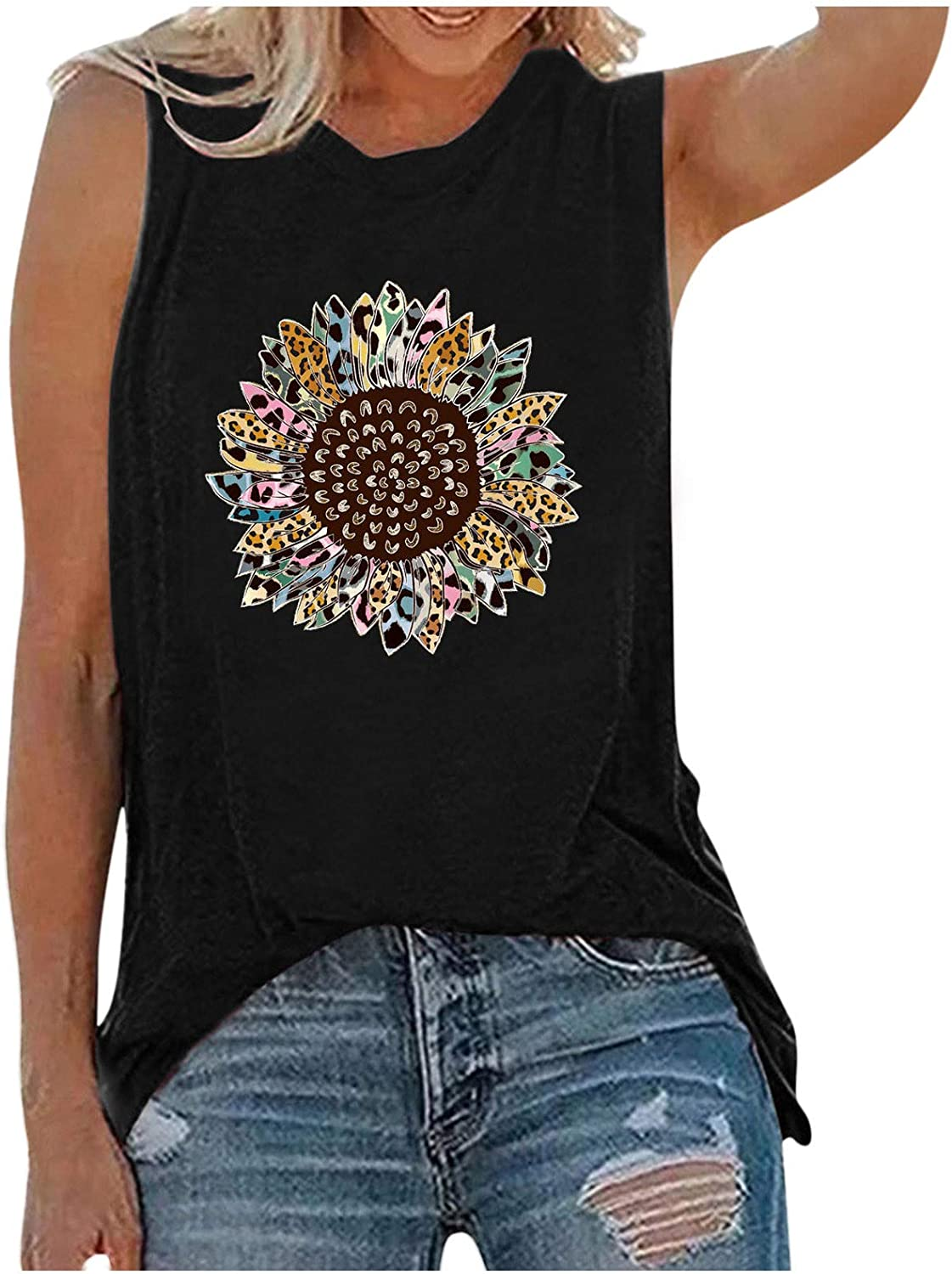 AODONG Tank Tops for Women, Womens Summer Casual Sleeveless Loose Fit Graphic Tank Vest Tees Shirts Blouses Tunics