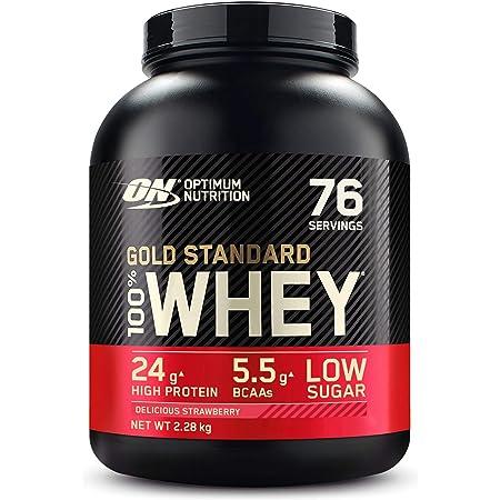 Optimum Nutrition Gold Standard 100% Whey Protéine en Poudre avec Whey Isolate, Proteines Musculation Prise de Masse, Fraise, 76 Portions, 2.28kg, l'Emballage Peut Varier