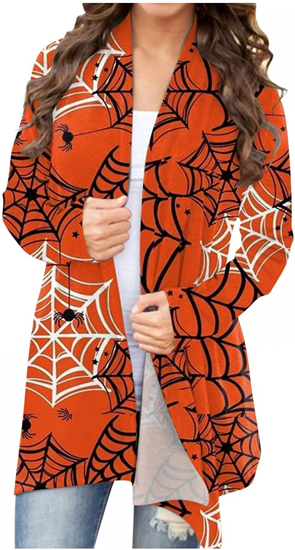 Womens Long Sleeve Tops,Womens Halloween Sweaters Cardigan Knit Open Front Casual Pumpkin Skull Graphic Outwear Coat