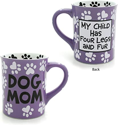"Enesco 4026112 Our Name is Mud ""Dog Mom,  16 oz. Stoneware Mug 16 Ounces Multi Color"