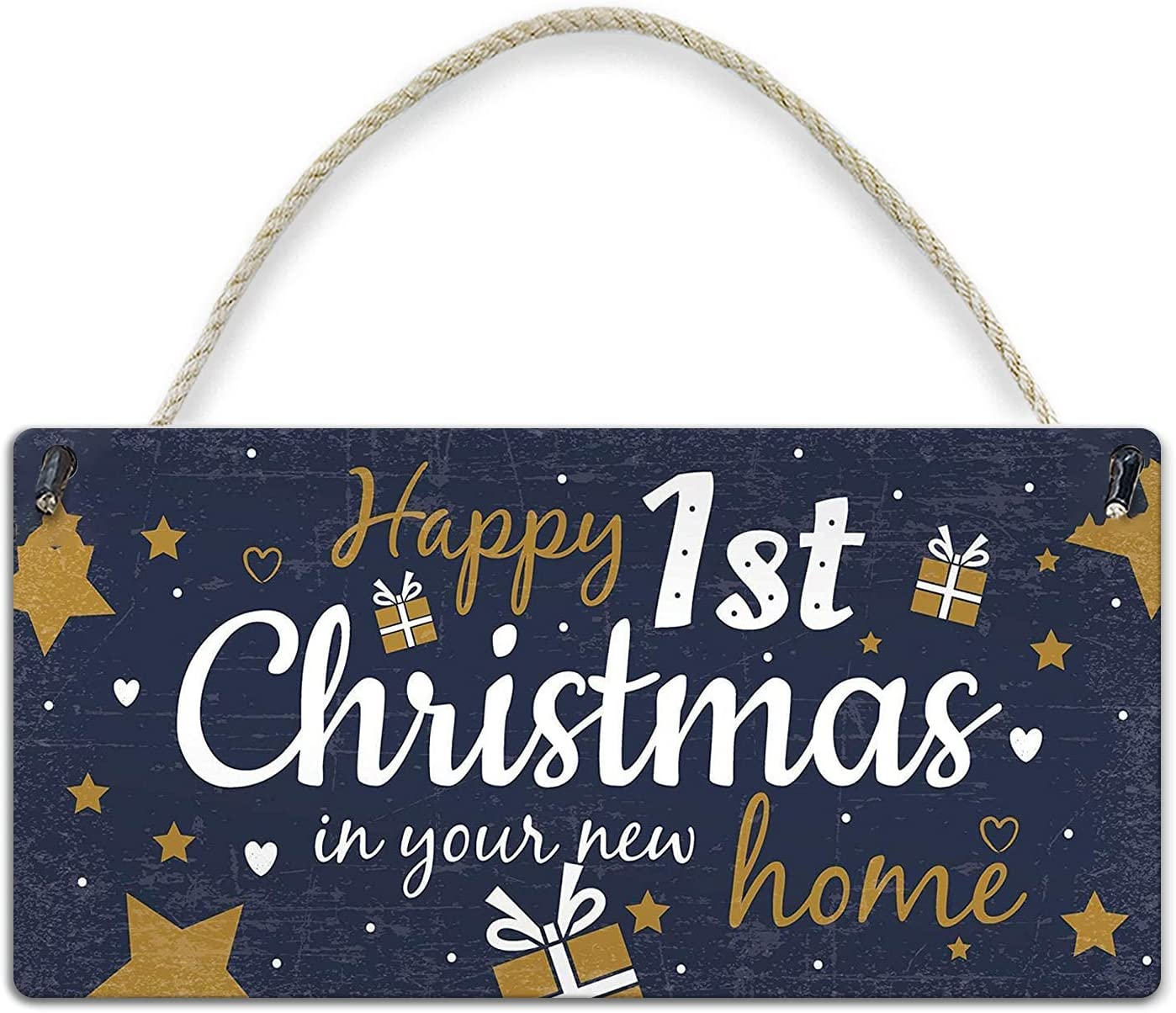 YILMEN 1st First Christmas in New Home Hanging Wall Xmas Tree Decoration Plaque Friendship Gifts Comic Poster Wood Sign Plaque Wall Decor 12