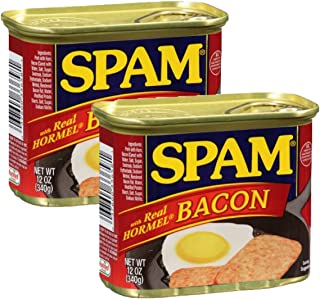 Spam Luncheon Meat Can, with Real Hormel Bacon, 12 Ounce (2 Count)