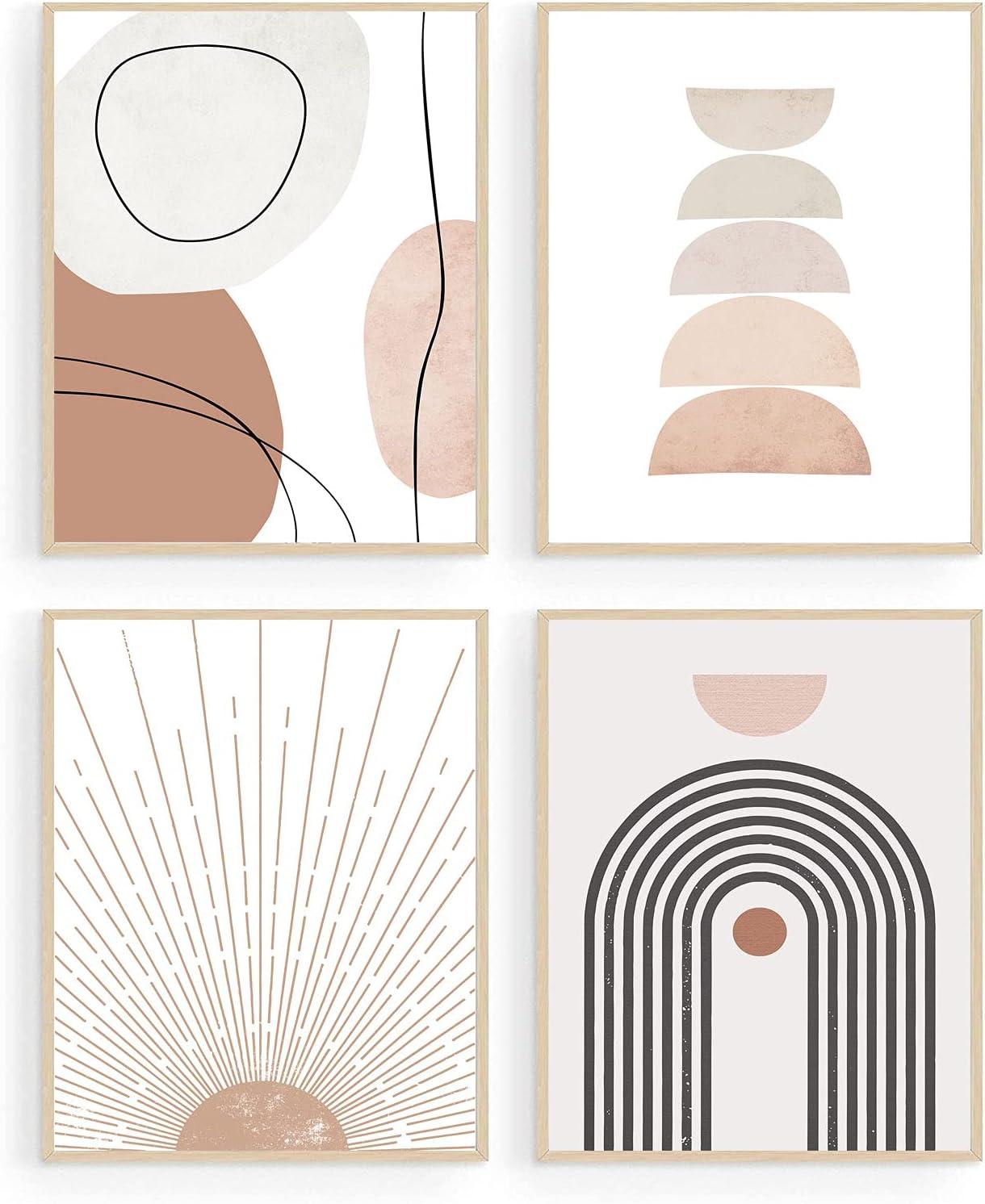 Minimalist Boho Wall Art Mid Century Modern Decor Geometric Sun Rising Beige Decor Abstract Wall Art Boho Prints Modern Art Wall Decor (8x10inch UNFRAMED)