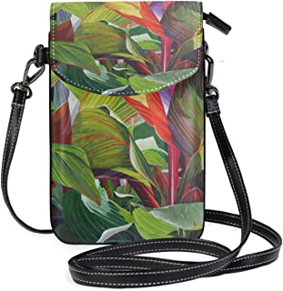 LORONA Banana Trees Leaves Art Painting Cell Phone Purse Wallet for Women Girl Small Crossbody Purse Bags