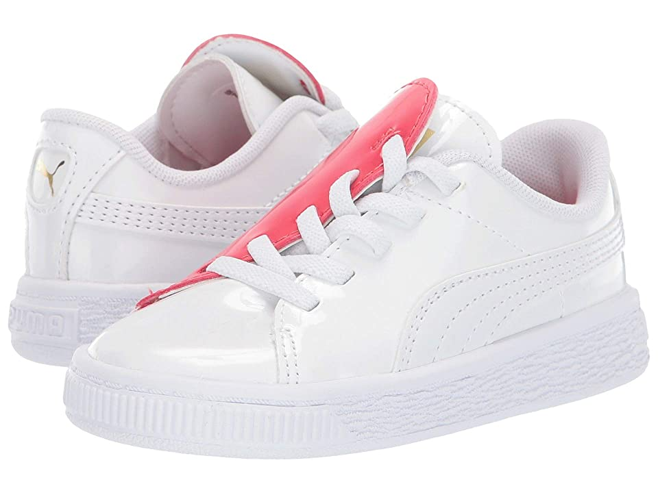 Puma Kids Basket Crush Patent Slip-On (Toddler) (Puma White/Hibiscus) Kids Shoes