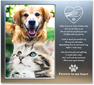 JOEZITON Pet Memorial (More Choices) Personalized 4x6 Picture Frame for Dogs or Cats.(MP06A)