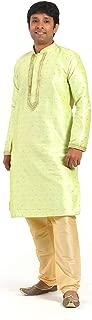 AMITHI'S DESIGNERS EXCLUSIVE Pista-Green Kurta with Golden Churidar Pajama Traditional Kurta Set