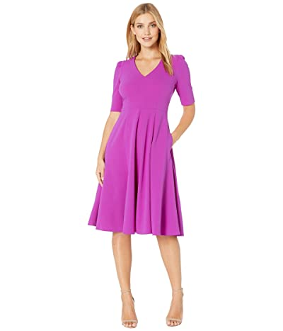 Donna Morgan V-Neck Fit and Flare Crepe Dress (Orchid) Women