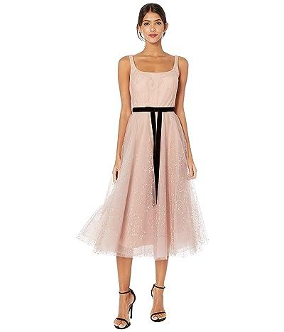 Marchesa Notte Sleeveless Glitter Tulle Tea-Length Gown w/ Velvet Ribbon Waist Trim (Blush) Women