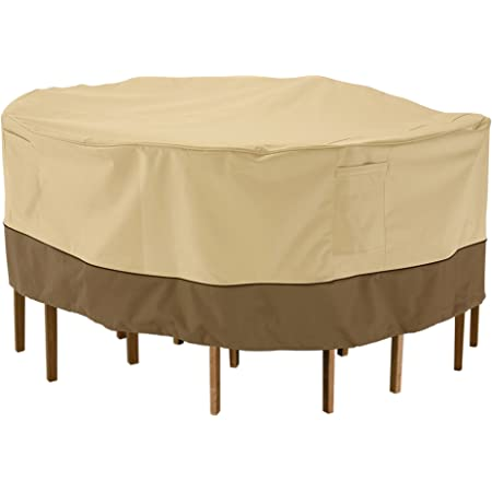 Classic Accessories Veranda Water Resistant 108 Inch Rectangular Oval Patio Table Chair Set Cover Patio Furniture Set Covers Garden Outdoor