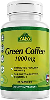 Green Coffee natural bean extract by Alfa Vitamins® - Pure Premium Antioxidant Beans - 1000 mg - Daily Supplement for weig...