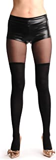 LissKiss Over The Knee Opaque Socks With Transparent Top - Schwarz Strumpfhose Einheitsgroesse 34-40
