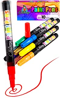 10 Paint Pens - Paint Marker Pens, Water Based Colors for Kids Adults, Sun - Water Resistant Fine Point, Paint on Rock, Wood, Glass, Ceramic, Metal, Clothes, Skin - Almost All Surfaces Model 2019