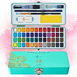 ARTISTRO Watercolor Paint Set, 48 Vivid Colors in Portable Box, Including Metallic and Fluorescent Colors. Perfect Travel Watercolor Set for Artists, Amateur Hobbyists and Painting Lovers