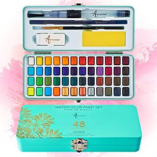 ست رنگ آبرنگ Artistro ، 48 رنگ زنده در جعبه قابل حمل ، شامل رنگ های فلزی و فلورسنت. مجموعه آبرنگ سفر عالی برای هنرمندان ، علاقه مندان به آماتور و عاشقان نقاشی
