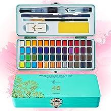 Artistro Zestaw farb akwarelowych, 48 żywych kolorów w przenośnym pudełku, w tym metaliczne i fluorescencyjne kolory. Idea...