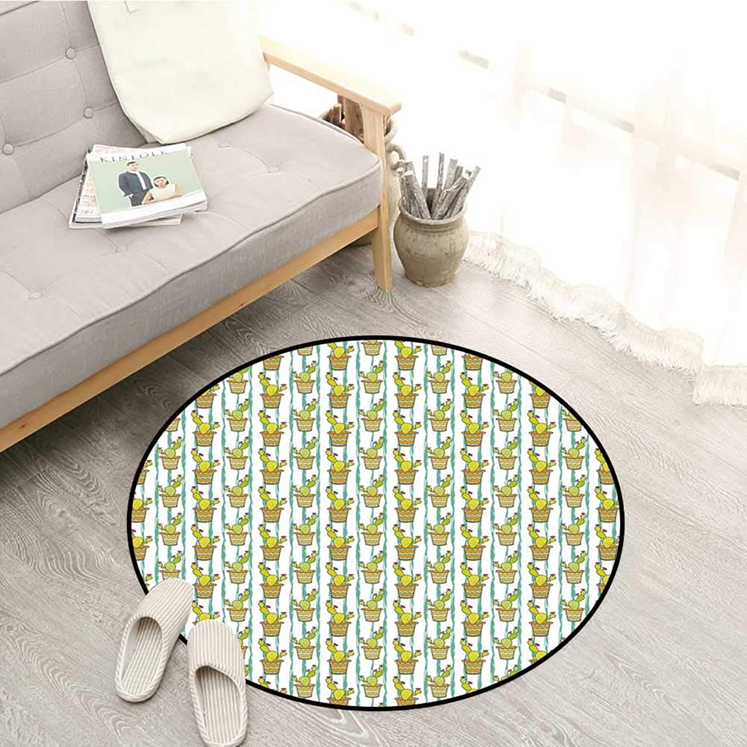 Cactus Kids Rugs greenical Lined Cartoon Drawing Style Zigzag Chevron Pattern Flowers in Pots Sofa Coffee Table Mat 4'11  Green orange Mint