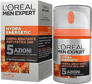 L'Oréal Paris Men Expert Hydra Energetic, Crema Idratante Anti-Fatica 24H, con Estratto di Guaranà e Vitamina C, 50 ml