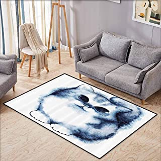 Outside The Door Rug Navy Blue Decor Cute Kitty Paint with Distressed Color Features Fluffy Cat Best Companion Ever Design Grey White Breathability W6'8 xL4'9