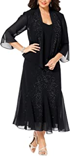 Women's 14W- 34W Plus Size Beaded Jacket Dress - Mother of The Bride Dresses