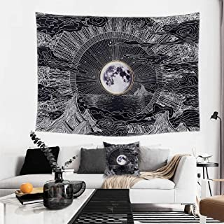 Boho Tapiz Wall Tapestry for Bedroom – 51.2 x 59.1 Inch Boho Tapestry With Throw Pillow Case – Black and White Psychedelic Tapestry – Calming and Relaxing Home Décor – Elegant Moon Theme