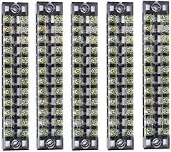 Summer-Home 5Pcs 15A 600V 12 Position Covered Dual Row Screw Terminal Barrier Strip Block Connector Bar