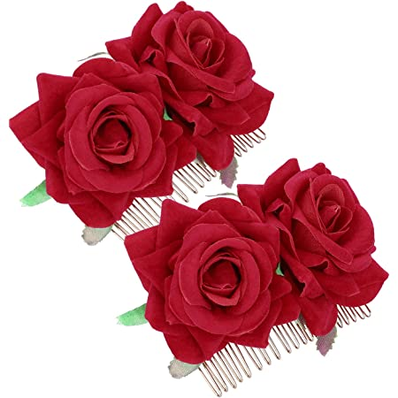 Accessories Red Rose Hairpin Bridal Flower Hair Comb Bridesmaid Hair Jewelry