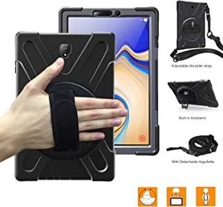 BRAECNstock Galaxy Tab S4 10.5 2018 Case, Heavy Duty Full-Body Protective Case with 360 Degree Stand/Hand Strap/Shoulder Strap for Samsung Galaxy Tab S4 10.5 (2018) SM-T830/T835/T837 Tablet (Black)