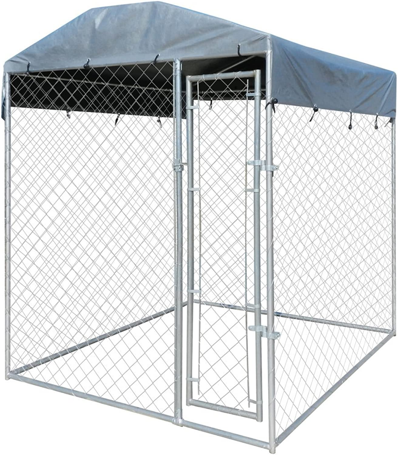 Anself Galvanised Steel Outdoor Dog Kennel with Canopy Top 200 x 200 x 235 cm