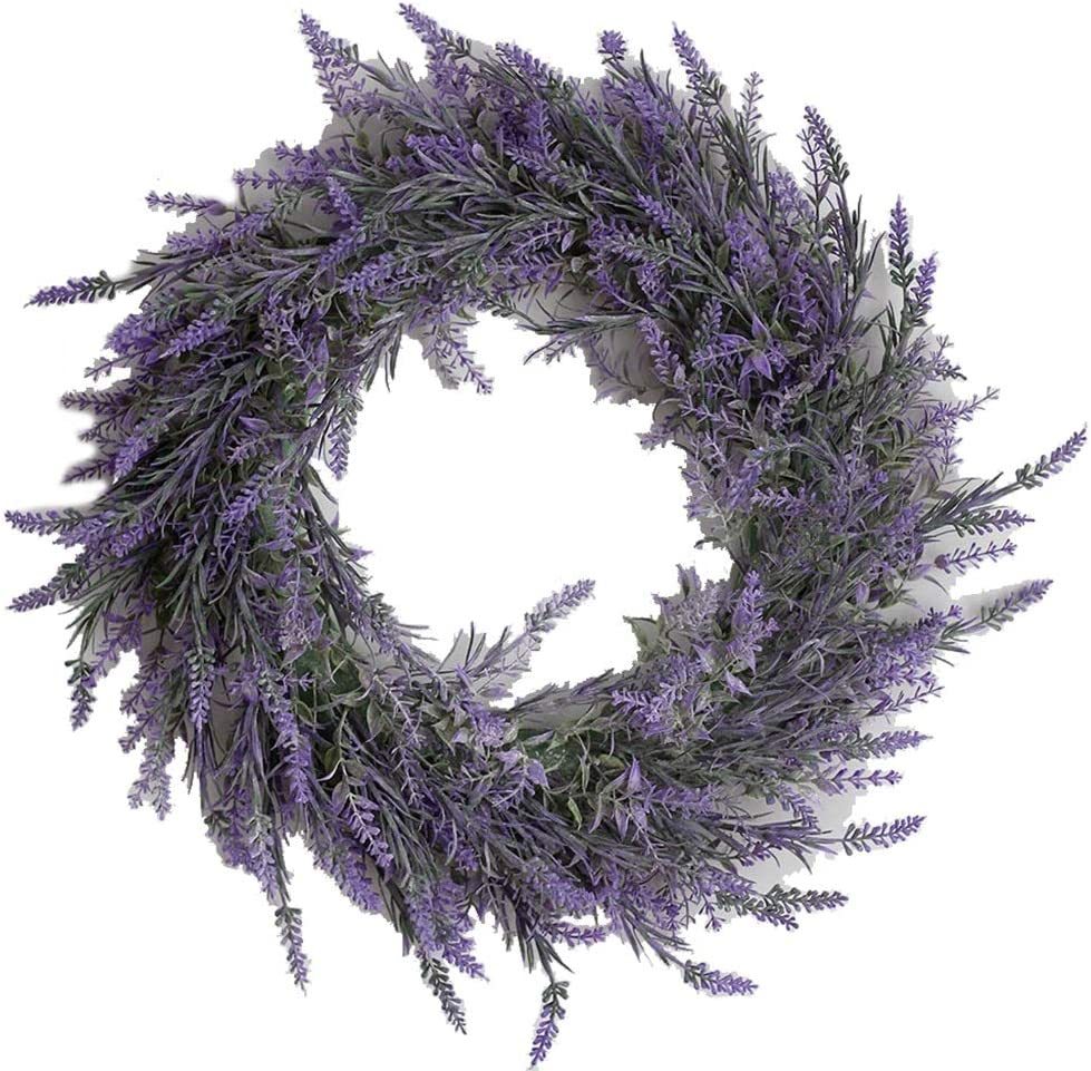 whl Hanging Wreath 16 Tucson Mall inch Fro Great interest Lavender for Flower Spring