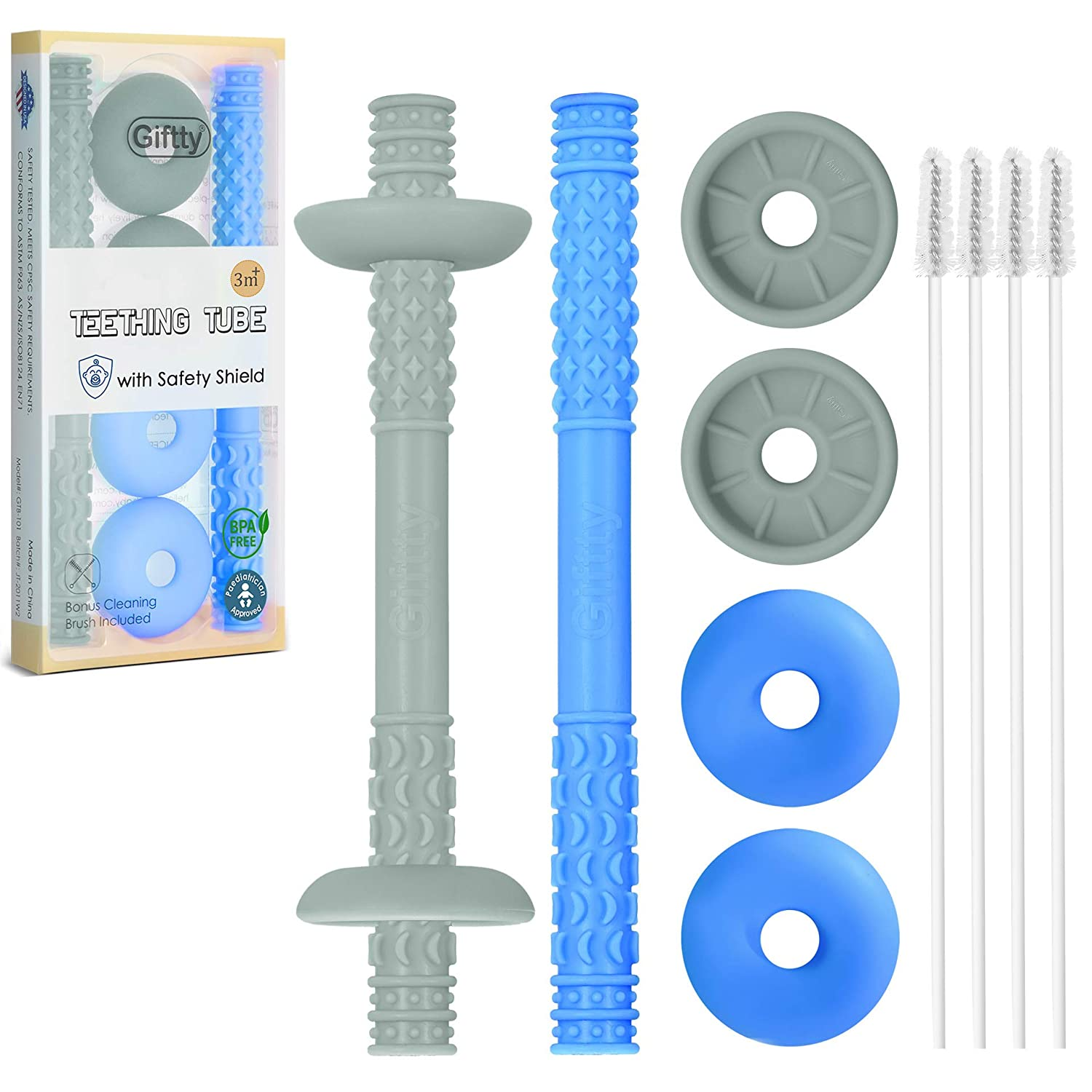 Teething Tube with Safety Shield Max famous 66% OFF Sensory Toy Teether Hollow Baby