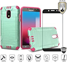 Galaxy J7 2018/Refine/Star/TOP/J7 V 2nd Gen/Aero/Aura/Crown Case with Tempered Glass Screen Protector, Premium Brushed Metal Design [Shockproof] Tough Hybrid (Teal/Hot Pink)