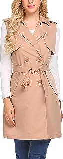 Mofavor Women's Long Sleeveless Trench Coat Double Breasted Vest Blazer Jacket with Belt S-XXL