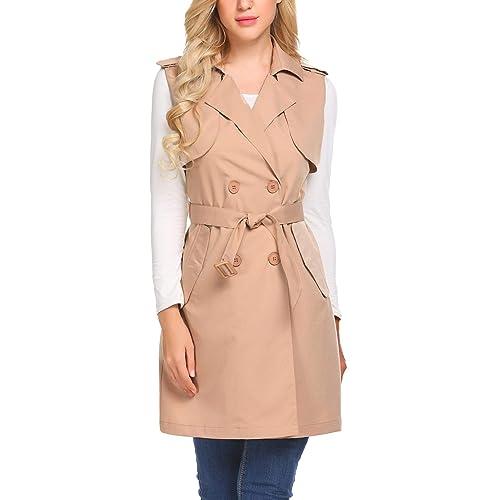 Womens Vest Sleeveless Belt Trench Two-buttons Slim Coat Waistcoat Zsell