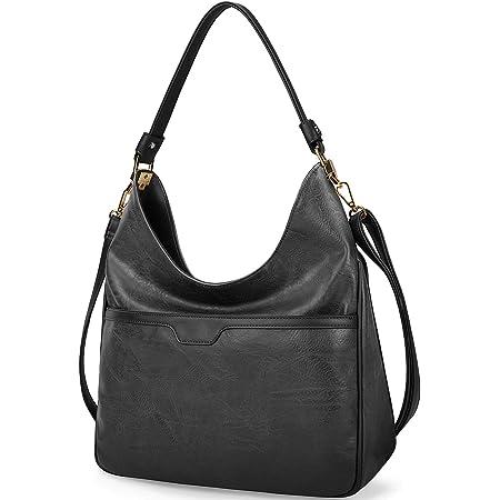 NUBILY Handtaschen Damen Groß Shopper Leder Hobo Bag Tasche Elegante Umhängetasche Damen Einkaufstasche Business Frauen Retro Schultertaschen Schwarz