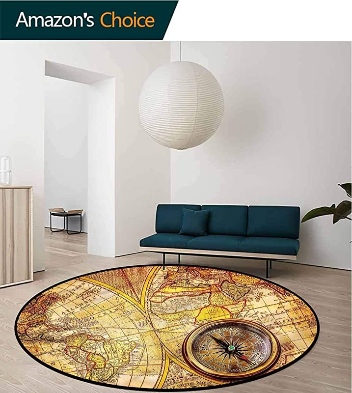 RUGSMAT Antique Non Slip Round Rugs Old Ancient World Map For Home Decor Bedroom Kitchen Etc Diameter 24